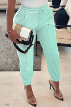 Baby Blue Casual Solid Split Joint Fold Regular High Waist Pencil Solid Color Bottoms