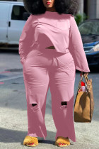 Pink Casual Solid Ripped Split Joint O Neck Plus Size Two Pieces