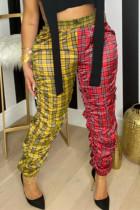 Yellow Fashion Casual Plaid Print Split Joint Regular High Waist Trousers