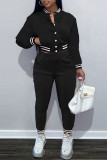 Black Casual Solid Split Joint Buckle Long Sleeve Two Pieces
