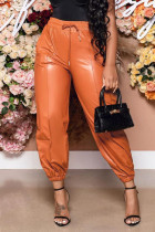 Tangerine Red Casual Solid Split Joint Fold Regular High Waist Pencil Solid Color Bottoms