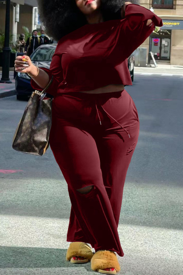 Burgundy Casual Solid Ripped Split Joint O Neck Plus Size Two Pieces