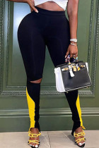 Black Casual Sportswear Patchwork Ripped Skinny High Waist Pencil Trousers