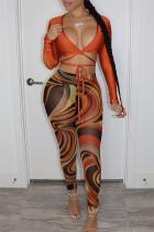Caramel Colour Fashion Sexy Print Bandage V Neck Long Sleeve Two Pieces