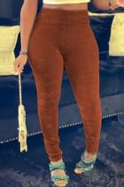 Orange Fashion Casual Solid Skinny High Waist Pencil Trousers