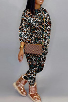 White Fashion Casual Print Split Joint O Neck Long Sleeve Two Pieces