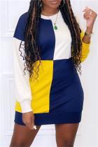 Blue Fashion Casual Patchwork Basic O Neck Long Sleeve Dresses