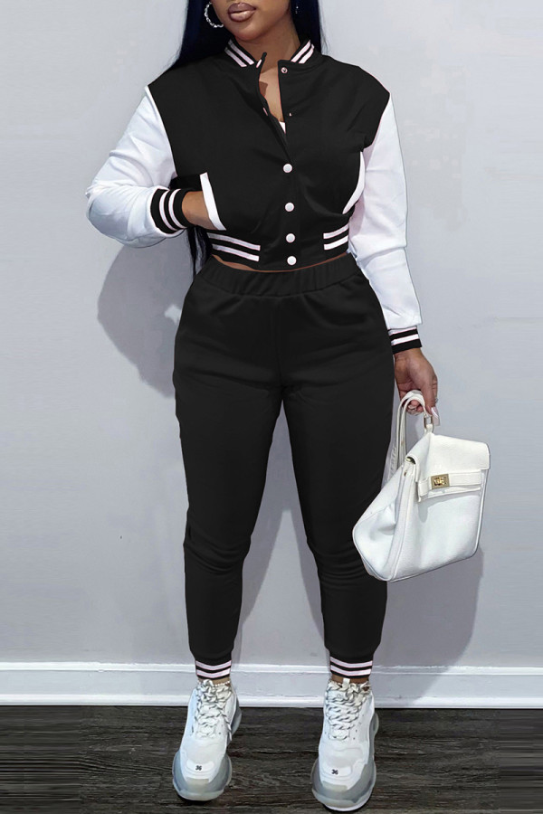 Black Fashion Casual Patchwork Cardigan Pants Long Sleeve Two Pieces