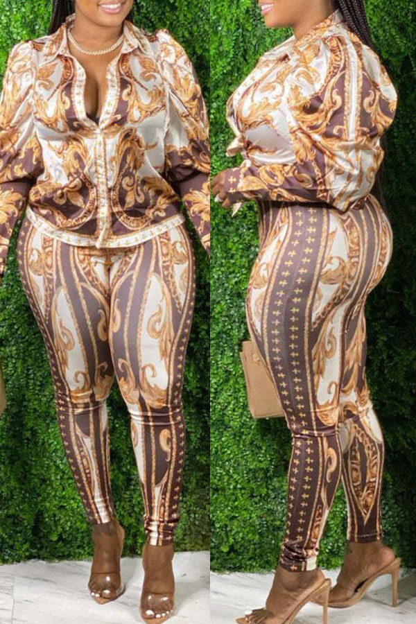 Brown Fashion Casual Print Basic Turndown Collar Long Sleeve Two Pieces