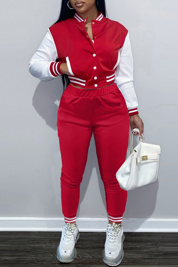 Red Fashion Casual Patchwork Cardigan Pants Long Sleeve Two Pieces