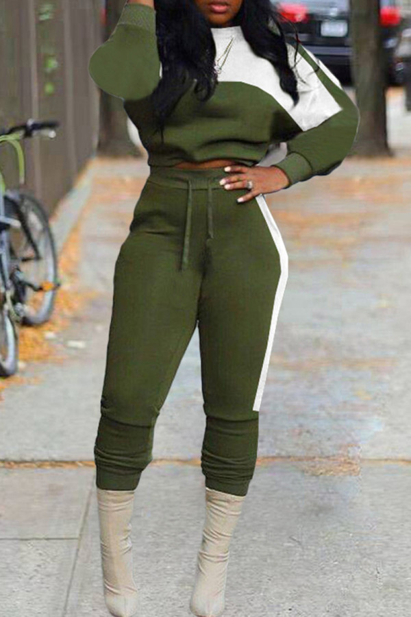 Army Green Fashion Casual Patchwork Basic O Neck Long Sleeve Two Pieces