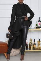 Black Fashion Casual Solid With Belt Asymmetrical Turndown Collar Outerwear
