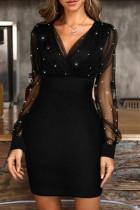 Black Fashion Sexy Patchwork Basic V Neck Long Sleeve Dresses