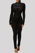 Black Fashion Casual Print Basic O Neck Skinny Jumpsuits