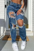 Dark Blue Street Solid Ripped Split Joint High Waist Straight Denim Jeans