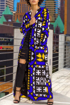 Blue Fashion Casual Print Cardigan Outerwear