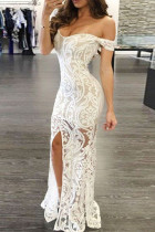 White Fashion Sexy Patchwork Embroidery Backless Slit V Neck Evening Dress