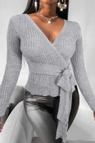 Grey Fashion Casual Solid Bandage V Neck Tops