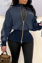 Tibetan Blue Street Solid Split Joint Zipper Zipper Collar Outerwear