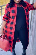 Red Black Fashion Casual Plaid Print Cardigan Turndown Collar Plus Size Overcoat