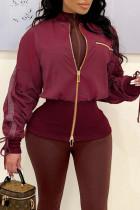 Burgundy Street Solid Split Joint Zipper Zipper Collar Outerwear