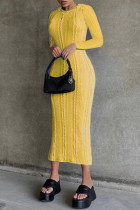 Yellow Fashion Casual Solid Basic O Neck Long Sleeve Dresses