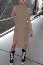 Brownness Fashion Casual Solid Split Joint Asymmetrical Hooded Collar Long Sleeve Dresses