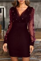 Burgundy Fashion Sexy Patchwork Basic V Neck Long Sleeve Dresses