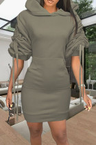 Green Fashion Casual Solid Draw String Hooded Collar Long Sleeve Dresses