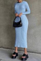 Sky Blue Fashion Casual Solid Basic O Neck Long Sleeve Dresses