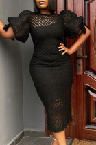Black Fashion Sexy Patchwork Solid Hollowed Out See-through O Neck Short Sleeve Dress