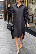 Black Fashion Casual Solid Slit Turndown Collar Long Sleeve Shirt Dress
