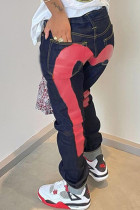 Red Fashion Casual Print Basic High Waist Regular Denim Jeans