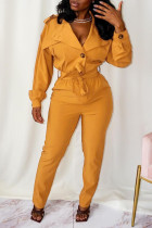 Yellow Casual Street Solid Split Joint Buttons Turndown Collar Straight Jumpsuits