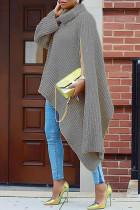 Grey Fashion Casual Solid Slit Turtleneck Tops