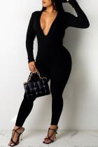 Black Sexy Solid Split Joint V Neck Jumpsuits