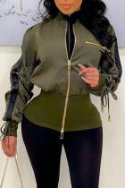 Army Green Street Solid Split Joint Zipper Zipper Collar Outerwear