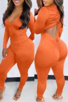 Orange Fashion Casual Solid Backless V Neck Skinny Jumpsuits