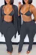 Dark Gray Fashion Casual Solid Cardigan Vests Pants Long Sleeve Three-piece Set