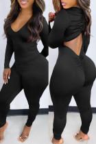 Black Fashion Casual Solid Backless V Neck Skinny Jumpsuits