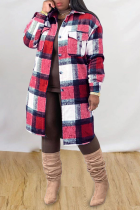 Red Casual Plaid Split Joint Peter Pan Collar Outerwear