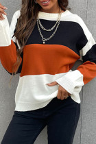 Brown Fashion Casual Patchwork Basic O Neck Tops