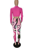 Rose Red Fashion Sexy Print Bandage V Neck Long Sleeve Two Pieces