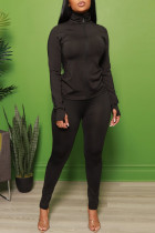 Black Fashion Casual Solid Split Joint Zipper Collar Long Sleeve Two Pieces