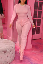 Pink Casual Solid Split Joint O Neck Long Sleeve Two Pieces