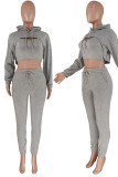 Apricot Casual Street Solid Split Joint Hooded Collar Long Sleeve Three Pieces