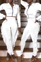 White Fashion Casual Patchwork Zipper Turndown Collar Long Sleeve Two Pieces