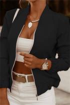 Black Fashion Casual Print Cardigan Zipper Collar Outerwear