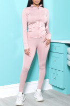 Pink Fashion Casual Solid Split Joint Zipper Collar Long Sleeve Two Pieces