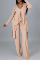 Apricot Pink Casual Solid Split Joint Asymmetrical V Neck Long Sleeve Two Pieces